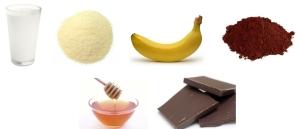 Mleko + kasza manna + banan + kakao