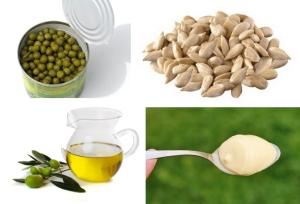 Groszek + pestki słonecznika + oliwa + majonez