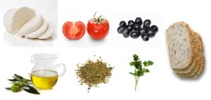 Mozarella + pomidor + oliwki +oliwa + zioła + chleb = kanapki