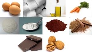 Jaja + cukier + olej + marchew