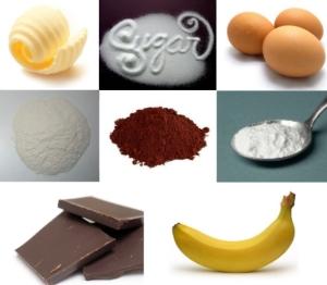 Masło + cukier + jaja + mąka + kakao + proszek do pieczenia + czekolada + banany