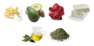 Makaron + awokado + suszone pomidory + feta + oliwa i zioła