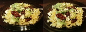 Sałatka makaronowa z awokado, suszonymi pomidorami i fetą
