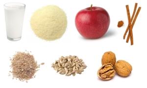 Kasza manna z jabłkiem, orzechami i cynamonem