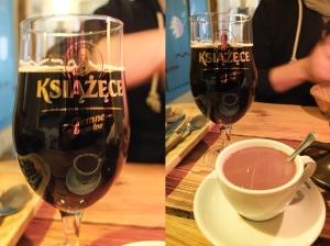 Piwo ciemne i czekolada pitna z wiśniówką