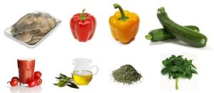 Boczniaki + papryka + cukinia + sos pomidorowy + zioła prowansalskie + bazylia = leczo warzywne
