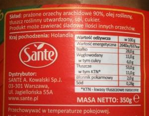 Wartość odżywcza i skład masła orzechowego 90%