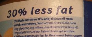 Skład masła orzechowego o obniżonej zawartości tłuszczu