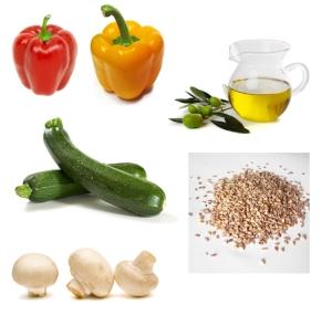Kolorowe papryki + cukinia + pieczarki + oliwa + sezam = sałatka z krótko smażonych warzyw