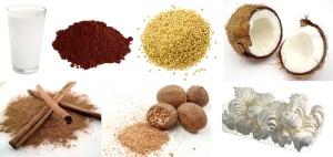 Mleko + kakao + kasza jaglana + wiórki kokosowe + cynamon + gałka muszkatołowa + bezy = deser